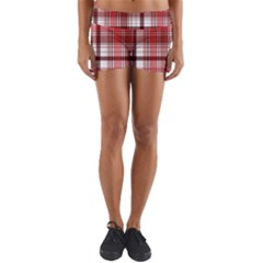 Red Abstract Check Textile Seamless Pattern Yoga Shorts