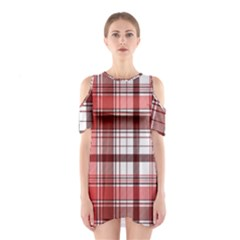 Red Abstract Check Textile Seamless Pattern Shoulder Cutout One Piece Dress