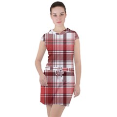 Red Abstract Check Textile Seamless Pattern Drawstring Hooded Dress