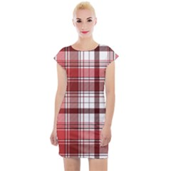 Red Abstract Check Textile Seamless Pattern Cap Sleeve Bodycon Dress