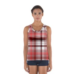 Red Abstract Check Textile Seamless Pattern Sport Tank Top