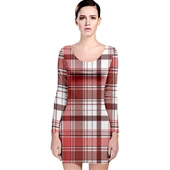 Red Abstract Check Textile Seamless Pattern Long Sleeve Velvet Bodycon Dress