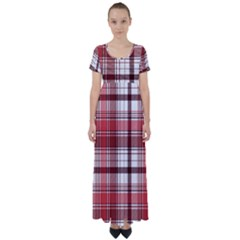 Red Abstract Check Textile Seamless Pattern High Waist Short Sleeve Maxi Dress