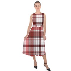 Red Abstract Check Textile Seamless Pattern Midi Tie Back Chiffon Dress