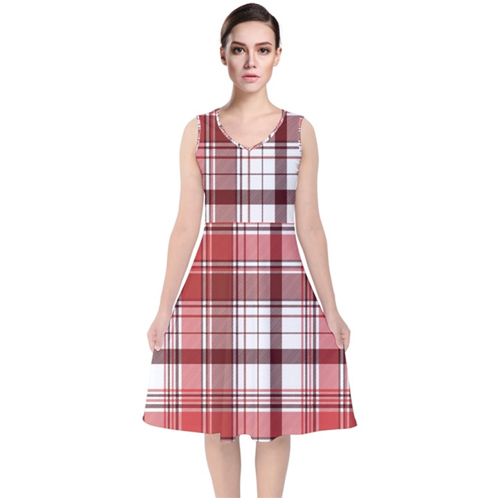 Red Abstract Check Textile Seamless Pattern V-Neck Midi Sleeveless Dress