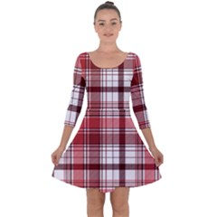 Red Abstract Check Textile Seamless Pattern Quarter Sleeve Skater Dress