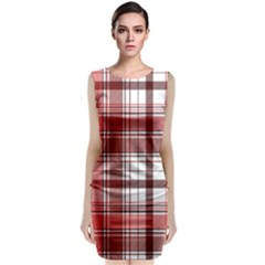 Red Abstract Check Textile Seamless Pattern Classic Sleeveless Midi Dress