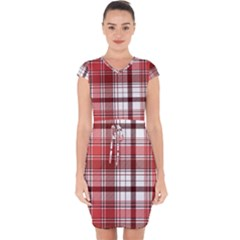 Red Abstract Check Textile Seamless Pattern Capsleeve Drawstring Dress