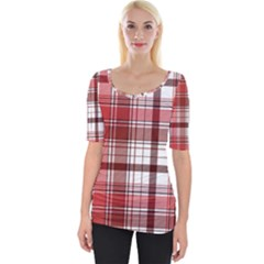 Red Abstract Check Textile Seamless Pattern Wide Neckline Tee