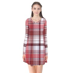 Red Abstract Check Textile Seamless Pattern Long Sleeve V Neck Flare Dress