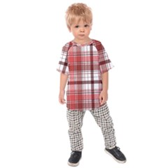 Red Abstract Check Textile Seamless Pattern Kids  Raglan Tee
