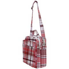Red Abstract Check Textile Seamless Pattern Crossbody Day Bag