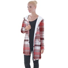 Red Abstract Check Textile Seamless Pattern Longline Hooded Cardigan