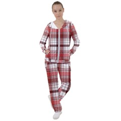 Red Abstract Check Textile Seamless Pattern Women s Tracksuit
