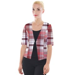Red Abstract Check Textile Seamless Pattern Cropped Button Cardigan