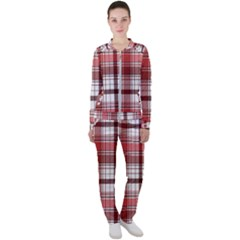 Red Abstract Check Textile Seamless Pattern Casual Jacket And Pants Set
