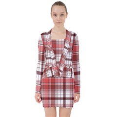 Red Abstract Check Textile Seamless Pattern V Neck Bodycon Long Sleeve Dress