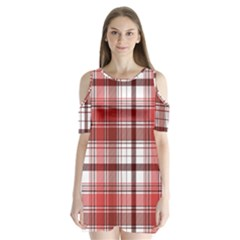 Red Abstract Check Textile Seamless Pattern Shoulder Cutout Velvet One Piece