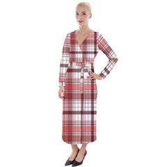 Red Abstract Check Textile Seamless Pattern Velvet Maxi Wrap Dress