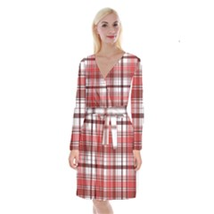 Red Abstract Check Textile Seamless Pattern Long Sleeve Velvet Front Wrap Dress