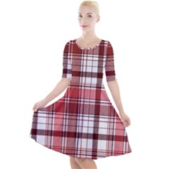 Red Abstract Check Textile Seamless Pattern Quarter Sleeve A Line Dress