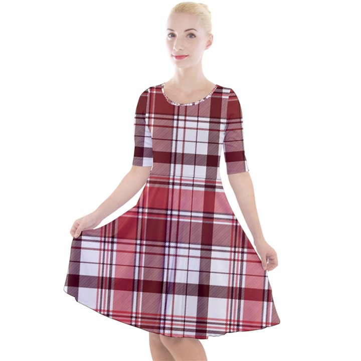 Red Abstract Check Textile Seamless Pattern Quarter Sleeve A-Line Dress