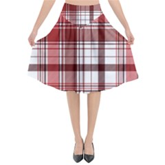 Red Abstract Check Textile Seamless Pattern Flared Midi Skirt