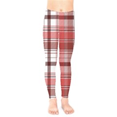 Red Abstract Check Textile Seamless Pattern Kids  Leggings