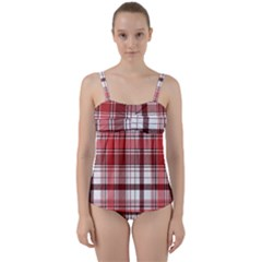 Red Abstract Check Textile Seamless Pattern Twist Front Tankini Set