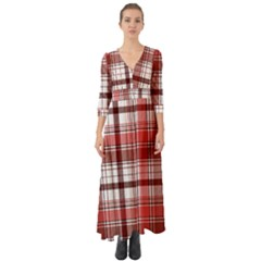 Red Abstract Check Textile Seamless Pattern Button Up Boho Maxi Dress
