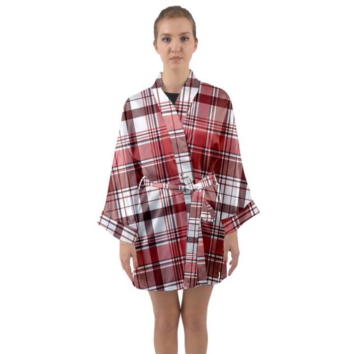 Red Abstract Check Textile Seamless Pattern Long Sleeve Satin Kimono