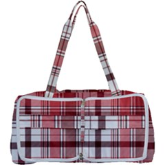 Red Abstract Check Textile Seamless Pattern Multi Function Bag