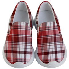 Red Abstract Check Textile Seamless Pattern Kids Lightweight Slip Ons