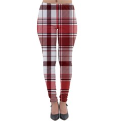 Red Abstract Check Textile Seamless Pattern Lightweight Velour Leggings