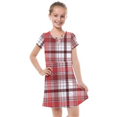Red Abstract Check Textile Seamless Pattern Kids  Cross Web Dress
