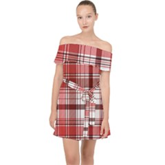 Red Abstract Check Textile Seamless Pattern Off Shoulder Chiffon Dress