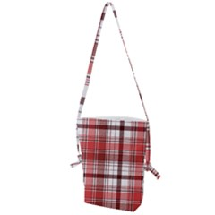 Red Abstract Check Textile Seamless Pattern Folding Shoulder Bag