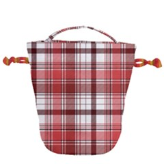 Red Abstract Check Textile Seamless Pattern Drawstring Bucket Bag