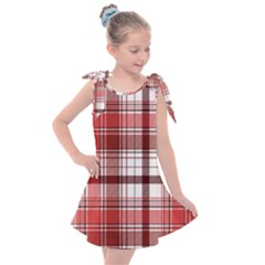 Red Abstract Check Textile Seamless Pattern Kids  Tie Up Tunic Dress