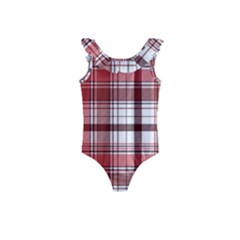 Red Abstract Check Textile Seamless Pattern Kids  Frill Swimsuit