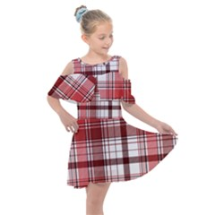 Red Abstract Check Textile Seamless Pattern Kids  Shoulder Cutout Chiffon Dress