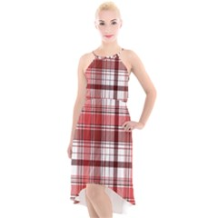 Red Abstract Check Textile Seamless Pattern High Low Halter Chiffon Dress
