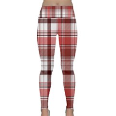Red Abstract Check Textile Seamless Pattern Lightweight Velour Classic Yoga Leggings