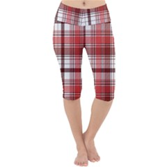 Red Abstract Check Textile Seamless Pattern Lightweight Velour Cropped Yoga Leggings