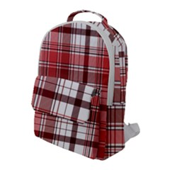 Red Abstract Check Textile Seamless Pattern Flap Pocket Backpack (large)
