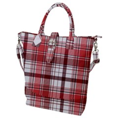 Red Abstract Check Textile Seamless Pattern Buckle Top Tote Bag