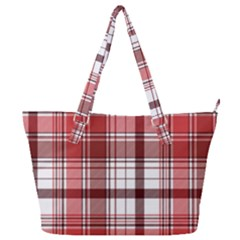 Red Abstract Check Textile Seamless Pattern Full Print Shoulder Bag