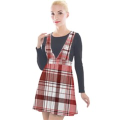 Red Abstract Check Textile Seamless Pattern Plunge Pinafore Velour Dress