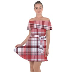 Red Abstract Check Textile Seamless Pattern Off Shoulder Velour Dress