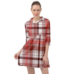 Red Abstract Check Textile Seamless Pattern Mini Skater Shirt Dress